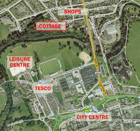 Elgin Self Catering - map of local resources and facilities